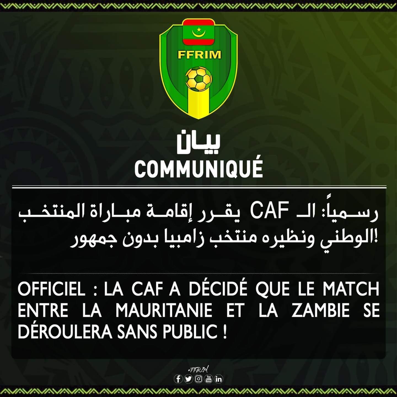 CAF يقرر إقامة مباراة المرابطون وزامبيا بدون جمهور